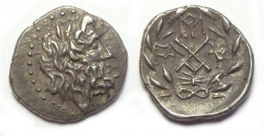 Elis as part of the Achaean League. Silver hemidrachm. early to mid 2st century BC.
