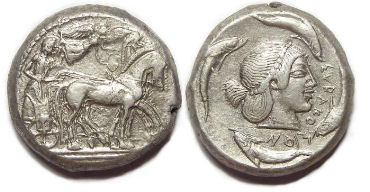 Syracuse in Sicily. ca. 485 to 479 BC. Silver tetradrachm
