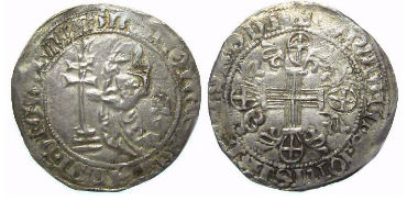 Crusader. Rhodes. Juan Fernandez of Heredia, AD 1376 to 1396, Silver Gigliato.
