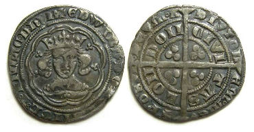 English, Edward III, AD 1327 to 1377. Silver groat.