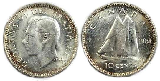 1951 Canada 10 Cent