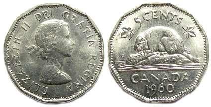 1999 Canada Original Roll Regular Beaver 5 Cent Nickels