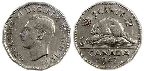 1937 Canadian 5-Cent Beaver Nickel Coin VF Circulated