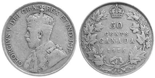 Canada 1916 Half Dollar Vg 8
